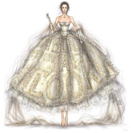 婚纱手绘照片图片唯美