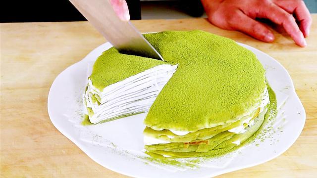 千层抹茶蛋糕、在家就可以做出来、刚做好就流口水、彪弟吃的真香