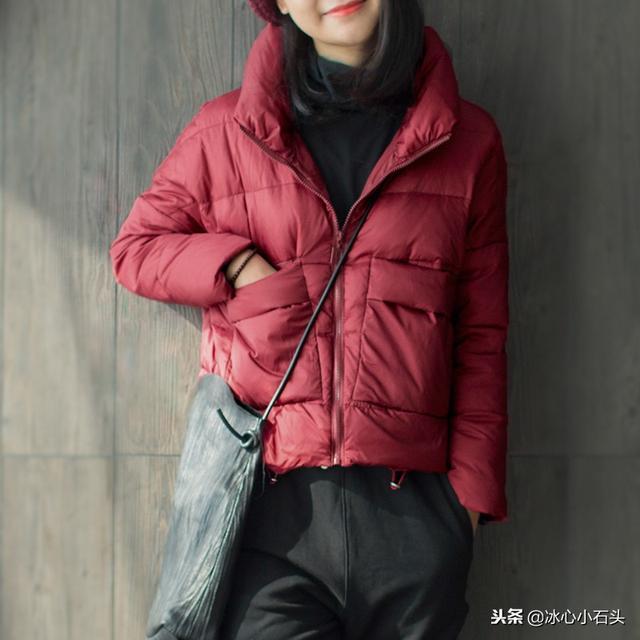 新款酒红色上衣轻薄韩版修身短款冬季外套高领女士羽绒服1210优惠券