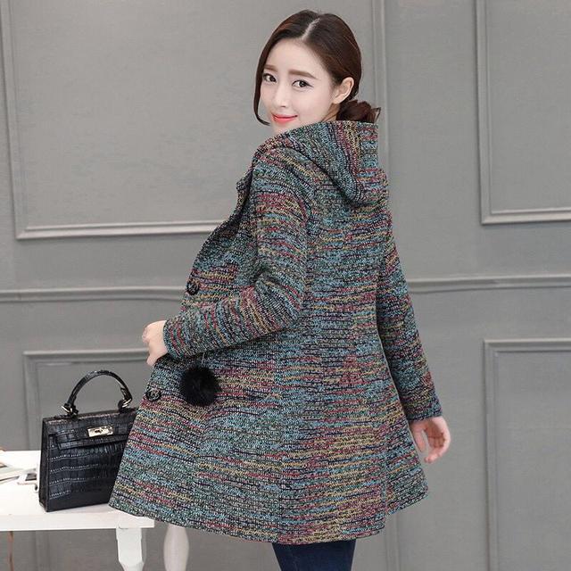韩版单排扣尼子连帽中长款毛呢外套女修身妮子大衣1037优惠券