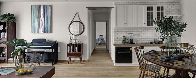 白色家具配地砖
