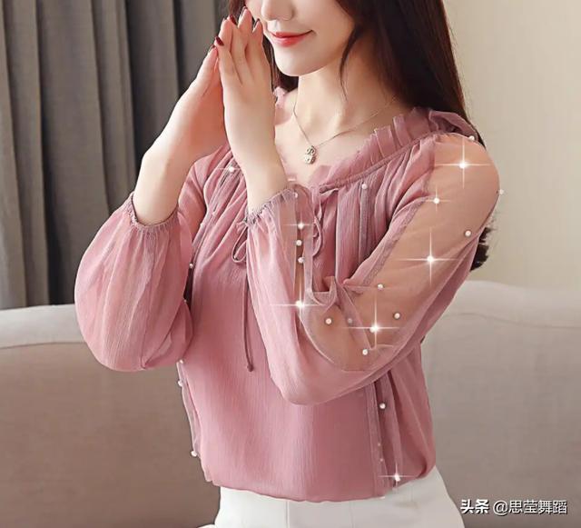 新款韩版修身系带雪纺衫女长袖钉珠上衣优惠券