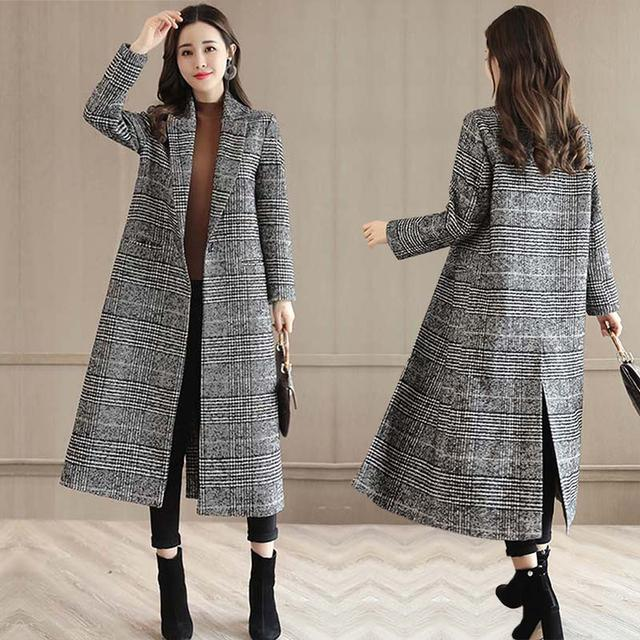 流行格子呢子大衣中长款秋冬款新款韩版女装妮子加厚毛呢外套优惠券