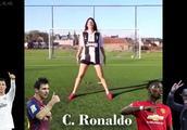 这个女球迷模仿C罗梅西博格巴内马尔踢点球,看到最后我笑了!