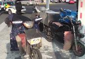 治理超标摩托 销毁无路权车
