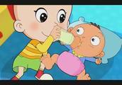 大头儿子学会了帮小宝宝换尿布真厉害!