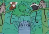 巴巴布莱特的表演太棒了,巴巴爸爸一家学着猴子样子,玩起来