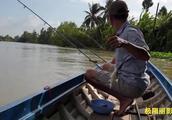 钓鱼:小伙去野钓小船上立了四把竿,这鱼钓不停收不住了