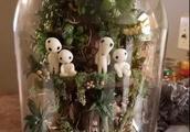 一个妈妈给孩子做的《幽灵公主》透明玻璃森林世界