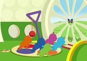 天线宝宝卡通动画 一只蝴蝶飞进房子里