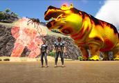 方舟生存进化-VS系列 天王火焰石头人VS巨型河马BOSS 谁更厉害
