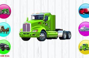 马车、油罐车、摩托车、轮船、吉普车找正确的影子图案,学习拼图