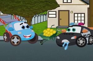 开心学拼图:给消防车、小汽车、警车找影子图案