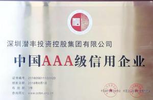 深圳潜丰投资控股集团荣获中国AAA级信用企业称号
