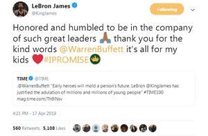 詹姆斯致谢巴菲特:能与这么多伟大的领袖齐名 我深感谦卑
