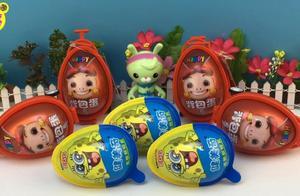 海绵宝宝和猪猪侠奇趣蛋!突突兔给小朋友拆玩具蛋