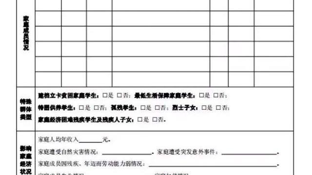 家庭经济困难学生认定申请表怎么填