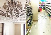 地震瞬间曝光!台湾海峡发生6.2级地震 超市物品散落一地