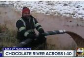 巧克力车侧翻,18吨巧克力流成河,网友:等着我拿着勺过去!