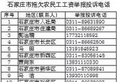 河北公布各地拖欠农民工工资举报投诉电话!
