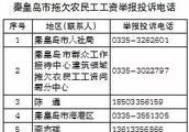 最新!秦皇岛市拖欠农民工工资举报投诉电话公布!