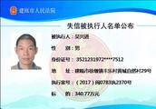 建瓯法院失信被执行人曝光台(2019年第6期)