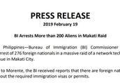 菲律宾移民局严打外籍非法打工者 58名台湾人被捕