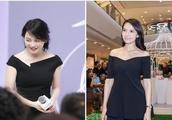 48岁俞飞鸿跟40岁高圆圆穿黑裙,气质超好