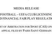 官方:巴黎上诉成功,结束欧足联的财政调查