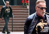 """71岁的施瓦辛格打扮似现实中的""""终结者"""",衬衫上印的是自己"""