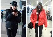 颖儿关晓彤机场撞衫,穿同款厚棉服,一红一黑美得都像少女!