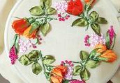 一针一线缝合美丽的立体花,艺术画立体刺绣教程