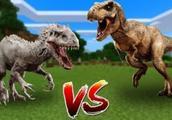 我的世界:狂暴龙大战霸王龙 侏罗纪霸王争夺战!