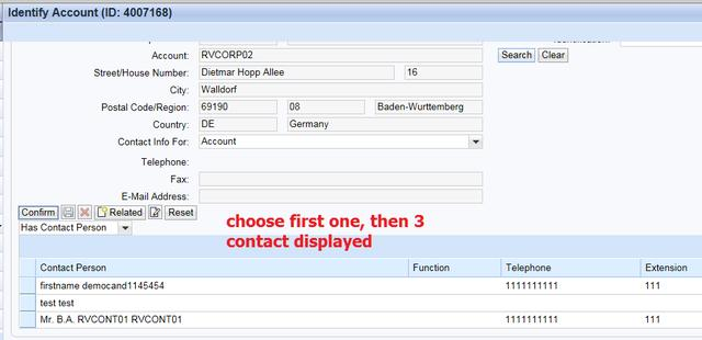 SAP CRM呼叫中心里多重Contact person confirm的处理